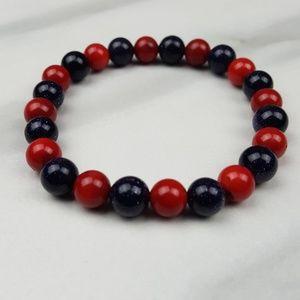 🌟Blue Goldstone Coral Red Bead Bracelet